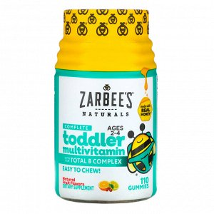 Zarbee&#x27 - s, Complete Toddler Multivitamin, Ages 2-4, Natural Fruit Flavors, 110 Gummies