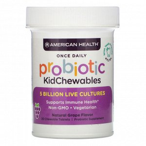 American Health, Probiotic KidChewables, Natural Grape Flavor, 5 Billion Live Culture, 30 Chewable Tablets