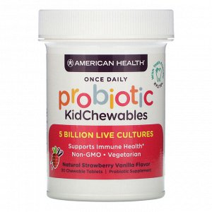 American Health, Probiotic KidChewables, Natural Strawberry Vanilla Flavor, 5 Billion Live Cultures , 30 Chewable Tablets