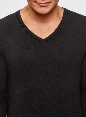Пуловер базовый из вискозы с V-образным вырезом