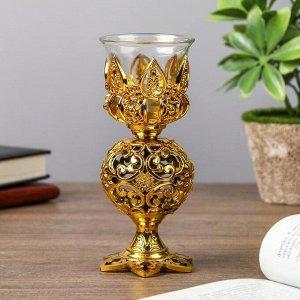 "Подсвечник пластик. стекло на 1 свечу ""Ажурный шар"" бокал на ножке золото 15х6х6 см"