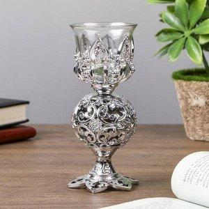 """Подсвечник пластик. стекло на 1 свечу """"Ажурный шар"""" бокал на ножке серебро 15х6х6 см"""