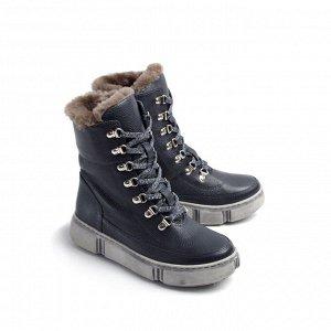 Ботинки зимние женские, синий кожа, натуральный мех.