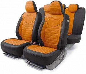 Комплект чехлов на сиденья LINEN, материал лён LIN-1505 BK/ORANGE