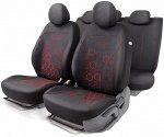 Комплект чехлов на сиденья HOLOGRAM, материал жаккард HOL-1102 BK/RD