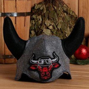 """Шлем викинга """"Бык-байкер"""", фетр искус."""