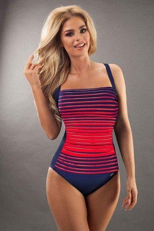 Купальник Слитный купальник Estella темно-синего цвета, передняя часть в красную полоску. Особый крой и специальная приятная для кожи подкладка позволяют использовать купальник для активного отдыха и