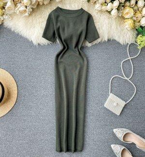 Трикотажное платье, зеленый