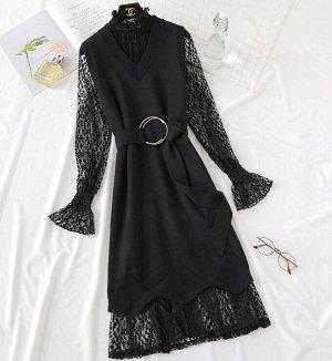 Платье+трикотажный жилет,черный