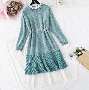 Платье+удлиненный свитер,зелено-голубой