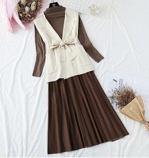 Лонгслив+жилет+юбка,коричневый