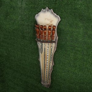Набор подарочный 6 шампуров, нож-вилка на деревянном щите