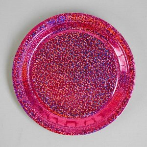 Тарелка бумажная «Сияние», набор 6 шт., цвет розовый