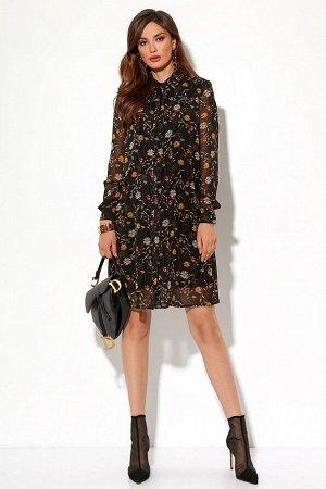 Платье Состав 100% ПЭ Платье (длина по спинке - 94 см, длина рукава - 64 см, цвет: мультиколор) - прямого силуэта с центральной застежкой на петли и пуговицы, с притачными планками; - горловина кругла
