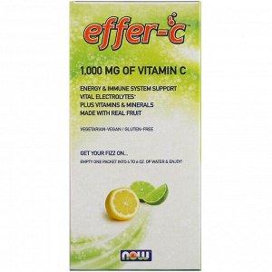 Now Foods, Effer-C, шипучий напиток, лимон-лайм, 30 пакетиков, (7,5 г) каждый
