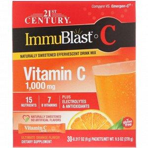 21st Century, ImmuBlast-C, шипучая смесь, превосходный апельсиновый вкус, 1000мг, 30 пакетиков, 0,317 унций (9 г) в каждом