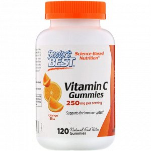 Doctor&#x27 - s Best, Жевательные таблетки с витамином C, с апельсиновым вкусом, 250 мг, 120 таблеток