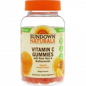 Sundown Naturals, Жевательные конфеты с плодами шиповника и биофлавоноидами, апельсиновый вкус, 90 жевательных конфет