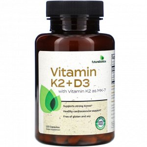 FutureBiotics, Vitamin K2 + D3 with Vitamin K2 as MK-7, 120 Capsules