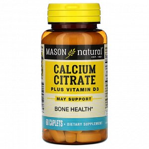 Mason Natural, Цитрат кальция с витамином D3, 60 капсуловидных таблеток