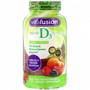 VitaFusion, Витамин D3 с натуральным вкусом персика и ягод, 50 мкг (2000 МЕ), 150 жевательных таблеток