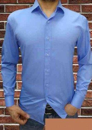 Мужская Рубашка с длинным рукавом. Материал 80% хлопок ,20% полиэстер + лайкра Про-ль Турция