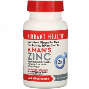 Vibrant Health, A Man&#x27 - s Zinc, 60 Vegetable Capsules