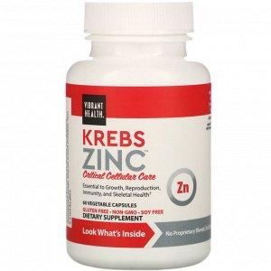 Vibrant Health, Krebs Zinc, 60 растительных капсул