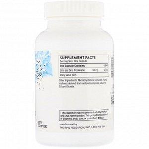 Thorne Research, Пиколинат цинка, 30 мг, 180 капсул