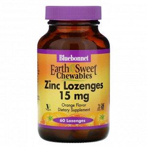 Bluebonnet Nutrition, EarthSweet, пастилки с цинком, натуральный апельсиновый ароматизатор, 15 мг, 60 пастилок
