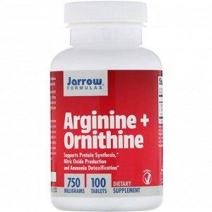 Jarrow Formulas, Arginine + Ornithine (Аргинин + орнитин), 750 мг, 100 таблеток