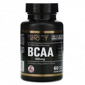 California Gold Nutrition, BCAA, аминокислоты с разветвленными цепями AjiPure®, 500 мг, 60 растительных капсул
