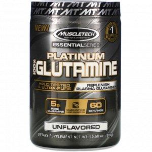 Muscletech, Essential Series, Platinum 100%, глютамин, без добавок, 5 г, 300 г (10,58 унции)
