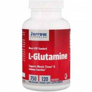 Jarrow Formulas, L-глютамин, 750 мг, 120 растительных капсул