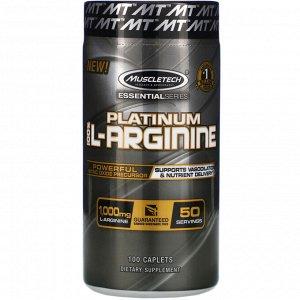 Muscletech, Platinum 100% L-Arginine, 1000 мг, 100 капсуловидных таблеток