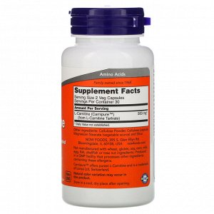 Now Foods, L-Carnitine, 250 мг, 60 капсул