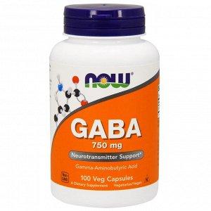Now Foods, ГАМК, 750 мг, 100 растительных капсул