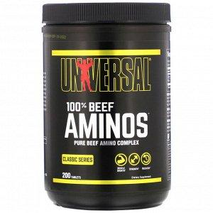 Universal Nutrition, 100% аминокислоты говядины, 200 таблеток