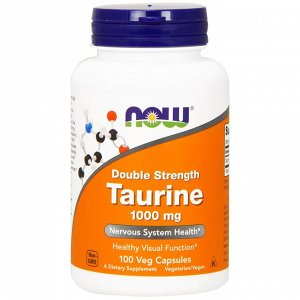 Now Foods, Таурин, двойной концентрации, 1000 мг, 100 растительных капсул
