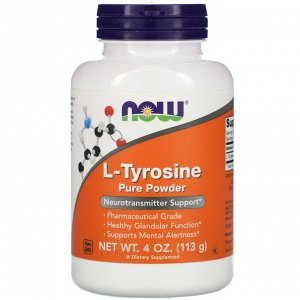 Now Foods, L-тирозин, чистый порошок, 113 г (4 унции)