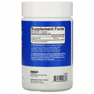 RSP Nutrition, L-аргинин, прекурсор оксида азота, 750 мг, 100 капсул
