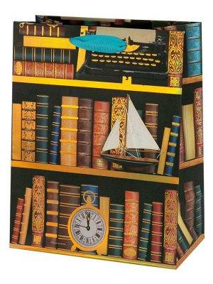 Бумажный пакет с золотым тиснением Книги17.8х22.9х9.8