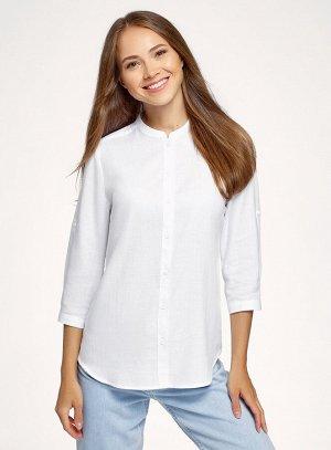 Рубашка хлопковая с воротником-стойкой                   Белый