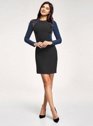 Платье-футляр с контрастными элементами                   Черный