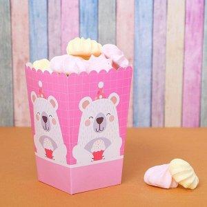 Снек-бокс «Мишка с кексом», набор 6 шт., цвет розовый