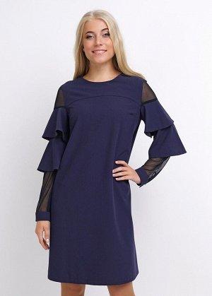 *Платье Цвет: т.синий Описание:  Для романтических дам подойдёт данный вариант платья: прямой покрой с кокеткой спереди, втачной рукав в сочетании с сеткой и воланами, понизу манжет на пуговице, по сп