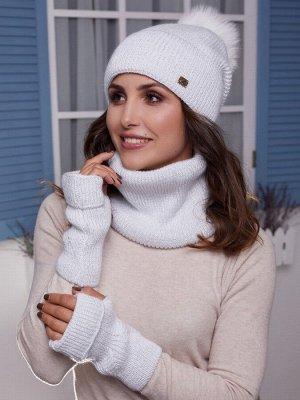 Женский комплект Имидж, шапка снуд митенки Белый