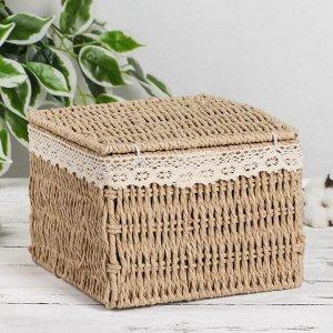 Корзина для хранения плетёная с крышкой Доляна «Мишка», 20?20?15 см
