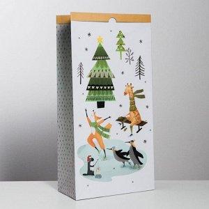 Пакет крафтовый «Зимние шалости», 32 х 64 х 16 см