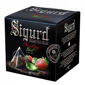 Чай черный SIGURD Клубника-базилик Black Tea Strawberry & Basil, 15 пирамидок в саше-конверте по 2 г